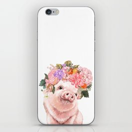 Lovely Baby Pig with Flowers Crown iPhone Skin