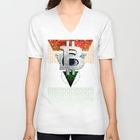 india V-neck T-shirts featuring bitcoin India by seb mcnulty