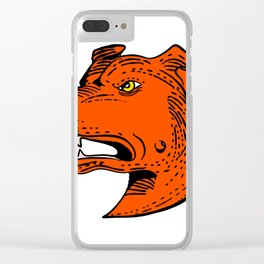 Angry American Staffordshire Bull Terrier Etching Color Clear iPhone Case