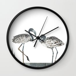 Flamingos in Silvery Blue Wall Clock