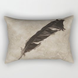 Antique Crow Feather Rectangular Pillow