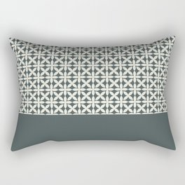Pantone Cannoli Cream Square Petal Pattern on PPG Night Watch Pewter Green Rectangular Pillow