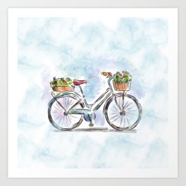 Spring Bicycle Watercolor with Flowers Art Print
