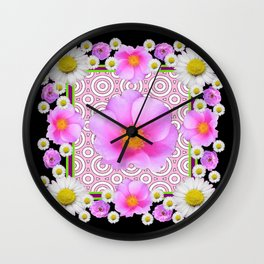 Floral Abundance Black Shasta Daisy Pink Roses Abstract Art For the home or the office and gifts fro Wall Clock