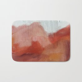 Desert Journey [2]: a textured, abstract piece in pinks, reds, and white by Alyssa Hamilton Art Bath Mat