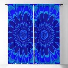 Summer Mandala Full Bloom Celebration in Vibrant Blue Blackout Curtain
