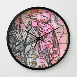 Weeds and Bricks Wall Clock