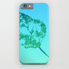 leaf sketch  on blue green gradient background  iPhone Case