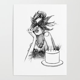 Birthday girl fashion illustration Poster