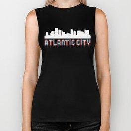 Red White Blue Atlantic City New Jersey Skyline Biker Tank
