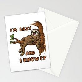 I'm Lazy And I Know It | Sloth Sleeping Animal Stationery Cards
