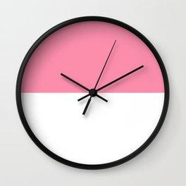 White and Flamingo Pink Horizontal Halves Wall Clock
