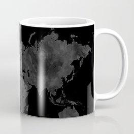 "Black and gray watercolor world map ""Coal mine"" Coffee Mug"