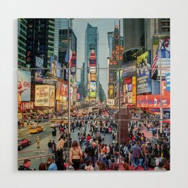 Times Square Tourists Wood Wall Art