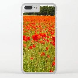 Sea of Normandy Poppies Clear iPhone Case
