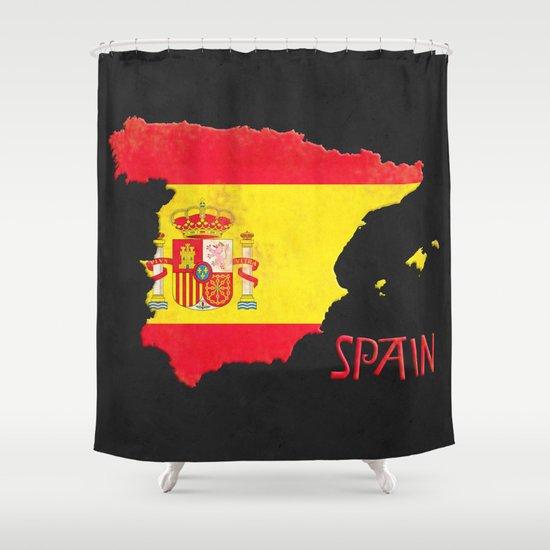 Spain Vintage Map Shower Curtain