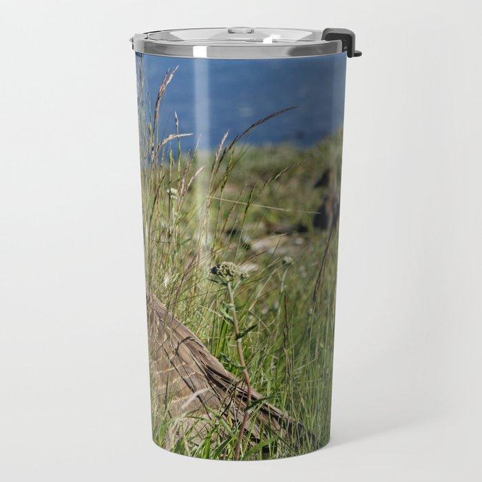 Canada Goose in Wild Grass Travel Mug