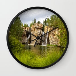 Ashton Garden, David Millenheft, Photography, Waterfall, Lehi, Utah, Nature, Outdoors, Wall Art Decor,   Wall Clock