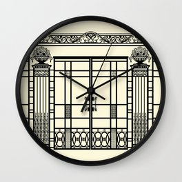 ART DECO, ART NOUVEAU IRONWORK: Black and Cream Wall Clock