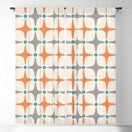 Mid Century Modern Star Pattern Grey and Orange Blackout Curtain