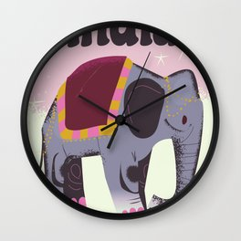 India Elephant travel poster Wall Clock