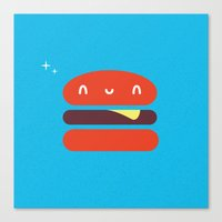 burger Canvas Prints featuring BURGER by Wet Pet