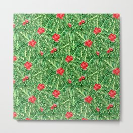 Holly Jolly Christmas Leaves & Berries (Small Pattern) Metal Print