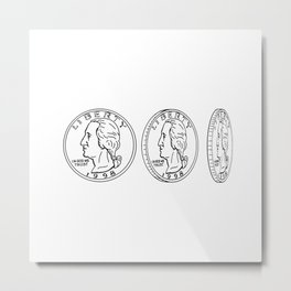 United States Dollar Coin Spinning Drawing Metal Print