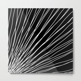 Rays of snow light with intersecting waves on black. Metal Print