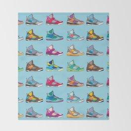 Colorful Sneaker set illustration blue illustration original pop art graphic print Throw Blanket