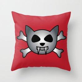Vampire Kitty Cat Skull and Crossbones Throw Pillow