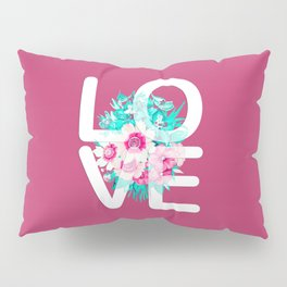 Elegant Floral Love Typography Pillow Sham