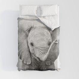 Baby Elephant - Black & White Comforters