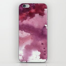 Blushing [2]: a minimal abstract watercolor and ink piece in shades of purple and red iPhone Skin