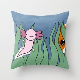 Axolotl Finds a Friend Throw Pillow