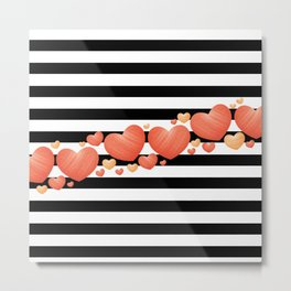 Black and White Stripes and Hearts 2 Metal Print