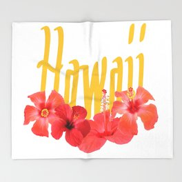 Hawaii Text With Aloha Hibiscus Garland Throw Blanket