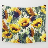 bright Wall Tapestries featuring Sunflowers Forever by micklyn