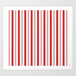 Red and White Candy Cane Stripes Thick and Thin Vertical Lines, Festive Christmas Art Print