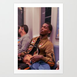 Father & Daughter Sleeping  on the Metro, A Art Print