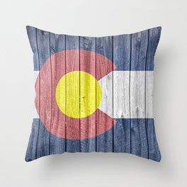 Colorado State Flag Barn Wall Gifts Throw Pillow