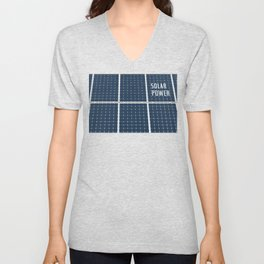 Image Of A Solar Power Panel. Free Clean Energy For Everyone Unisex V-Neck