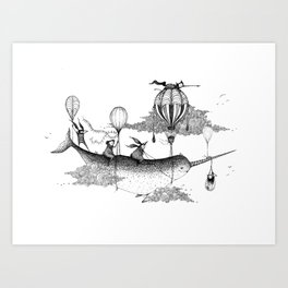 Whiskers Narwhal Art Print