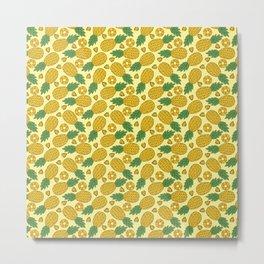 Doodle Pineapple - Tropical Pattern Metal Print