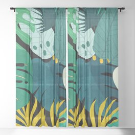 Tropical Jungle Leaves Sheer Curtain