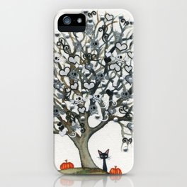 Halloween Whimsical Black Cat and Tree iPhone Case