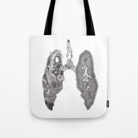 lungs Tote Bags featuring Lungs by Alexander.Leake