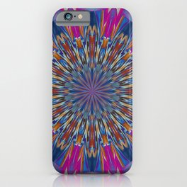 Foil Effect Geometric Kaleidoscope In Pink and Blue iPhone Case