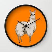 llama Wall Clocks featuring Llama by Nemki