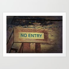No Entry sign hanging on a chain Art Print